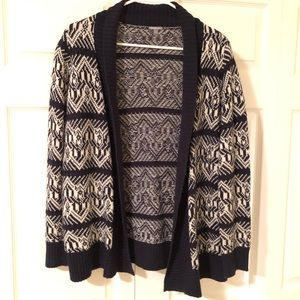 Blue and white knit cardigan - Charlotte Russe